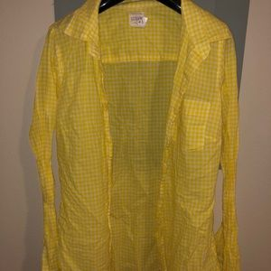 J crew Yellow Gingham the Perfect shirt size XS